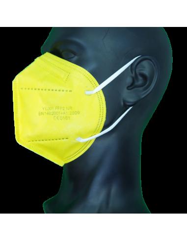 Mascarilla FFP2 Color Amarillo - Izquierda